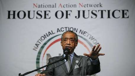 Rev. Al Sharpton speaks during a rally at