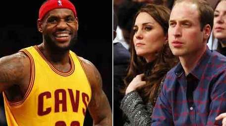 The Cleveland Cavaliers' LeBron James, Prince William and