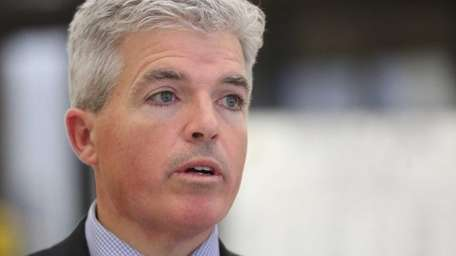 Suffolk County Executive Steve Bellone takes questions from