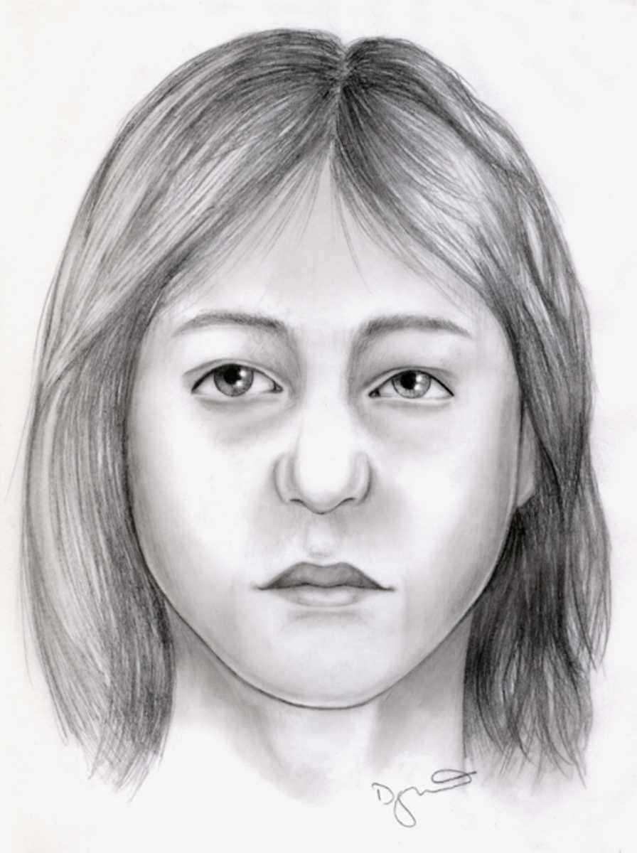 An artist's rendering shows a woman whose remains