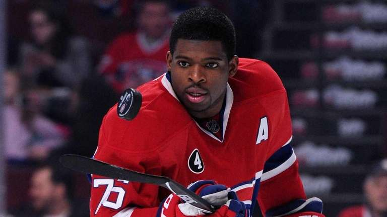 P.K. Subban #76 of the Montreal Canadiens wears