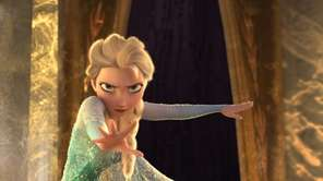 Elsa on the balcony of her castle in
