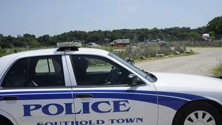A Southold Town police car is shown at
