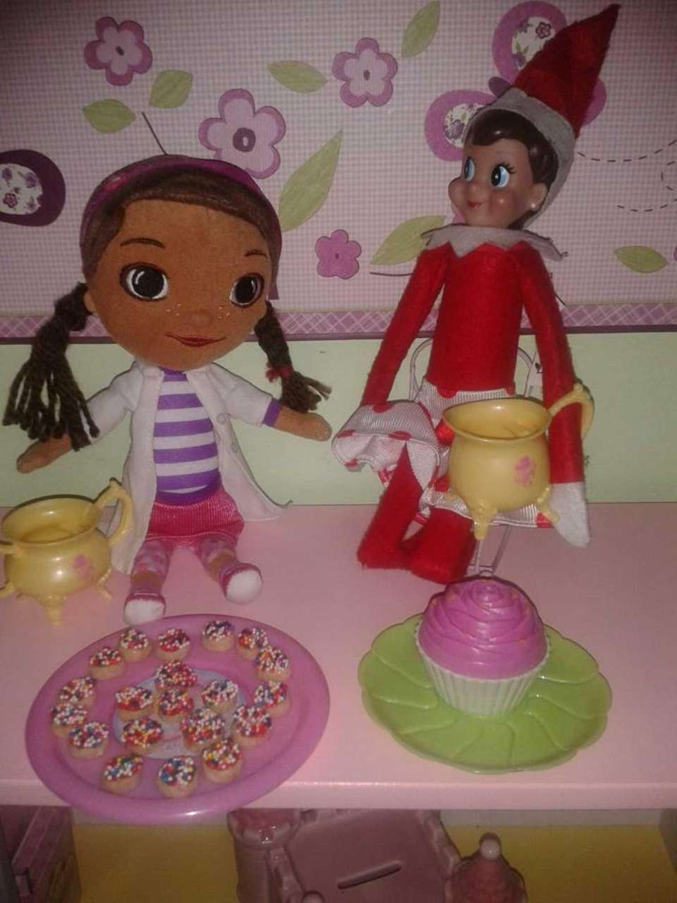 Made donuts (Cheerios) and enjoying a tea party
