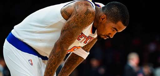J.R. Smith of the New York Knicks looks