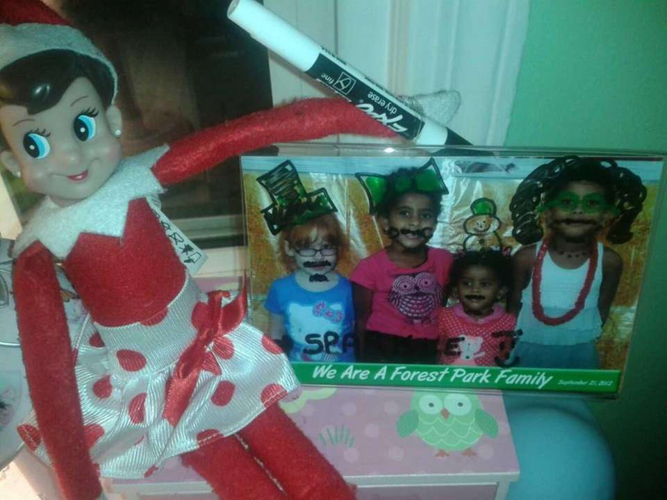 Elf causing overnight mischief.