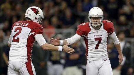 Arizona Cardinals kicker Chandler Catanzaro reacts with Drew