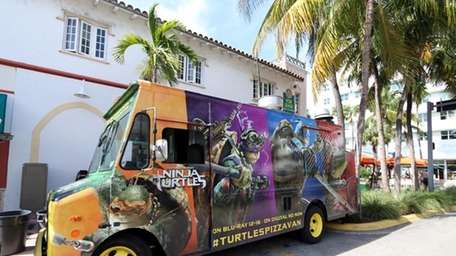 The Teenage Mutant Ninja Turtles pizza van will
