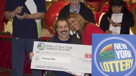 Thomas Rea with the New York Lottery's Yolanda
