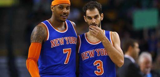 New York Knicks' Carmelo Anthony and Jose Calderon