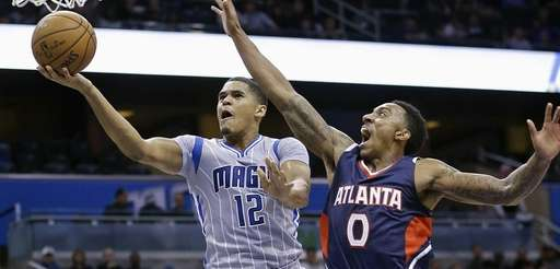 Orlando Magic's Tobias Harris gets past Atlanta Hawks'