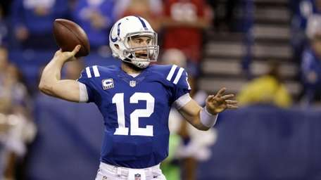 Indianapolis Colts quarterback Andrew Luck throws against the