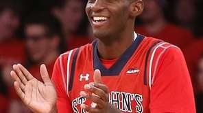 St. John's Rysheed Jordan (23) celebrates during the