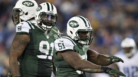 Ikemefuna Enemkpali #51 of the New York Jets