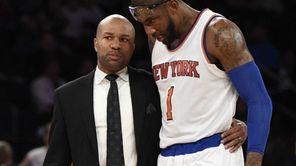 New York Knicks head coach Derek Fisher stands