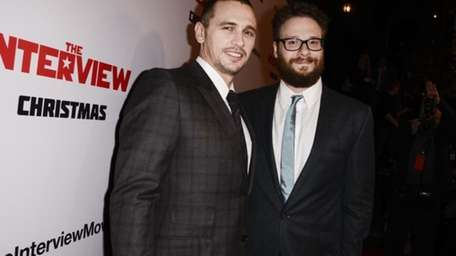 Seth Rogen and James Franco attend the premiere