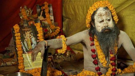 A naga sadhu, a Hindu holy man, at
