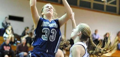Huntington's Samantha Lynch drives to the basket during