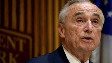 A visibly angry NYPD Commissioner William J. Bratton