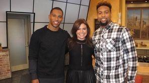 Talk show host Rachael Ray, center, with Giants