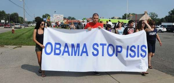 Protestors are seen here calling on President Barack