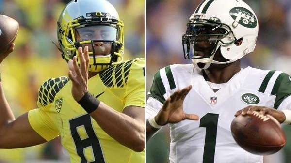 Oregon quarterback Marcus Mariota and Jets quarterback Michael
