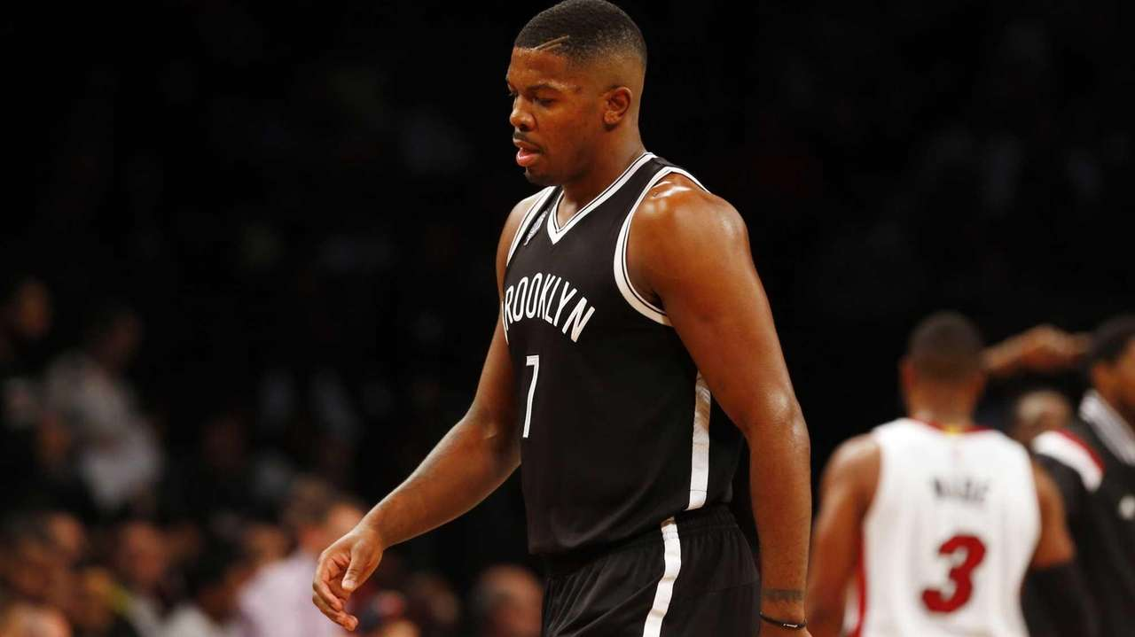 Joe Johnson #7 of the Brooklyn Nets walks
