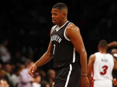 Joe Johnson #7 of the Brooklyn Nets walks