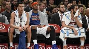 Knicks guard Pablo Prigioni, forward Carmelo Anthony and