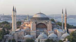 Istanbul's landmark Hagia Sophia at sunset, with the