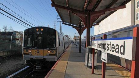 An LIRR train is shown on Saturday, Nov.