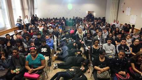 Uniondale High School students stage a die-in during