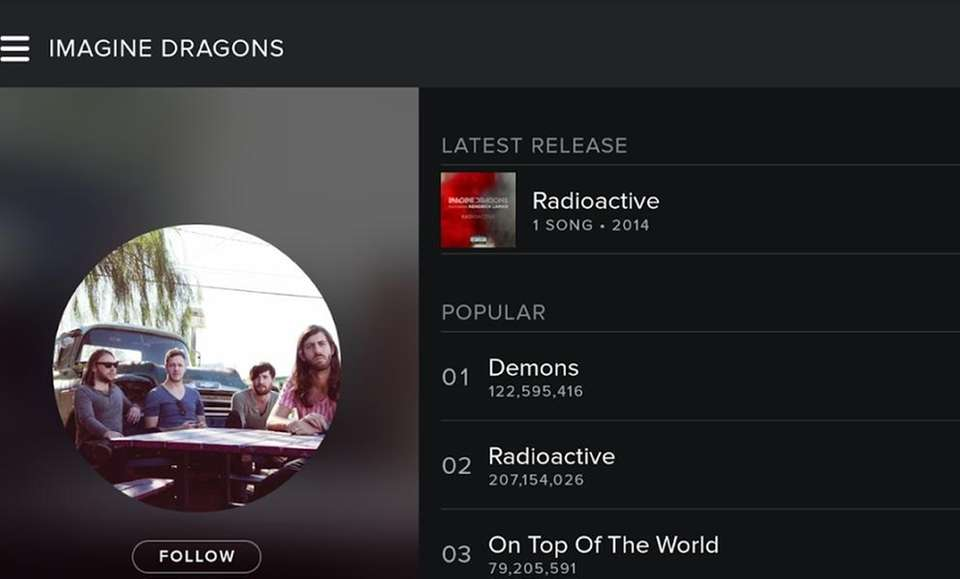 With Spotify, you have access to artists and
