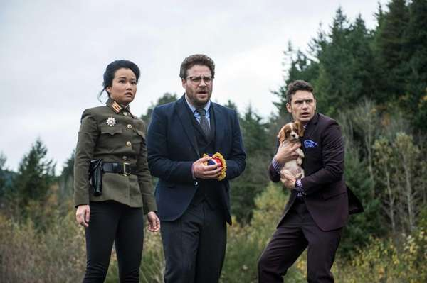 From left, Diana Bang, as Sook, Seth Rogen, as Aaron, and James Franco, as Dave, in