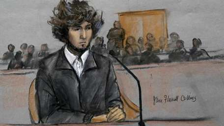 In this courtroom sketch, Boston Marathon bombing suspect