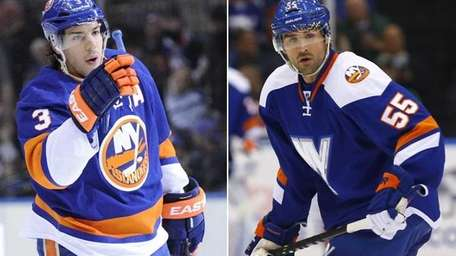 The Islanders' Travis Hamonic and Johnny Boychuk are