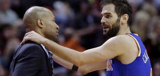 Knicks guard Jose Calderon talks with head coach