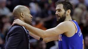 Knicks guard Jose Calderon talks with head coach