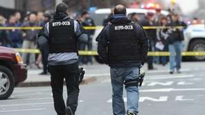The scene where two NYPD officers were shot