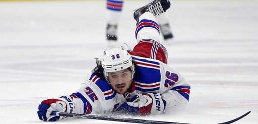 New York Rangers' Mats Zuccarello dives during the
