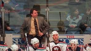 Islanders coach Rick Bowness watches over his team