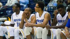 The Hofstra Pride bench is dejected in the