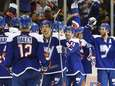The New York Islanders celebrates after defeating the