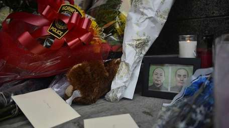 A memorial for two police officers who were