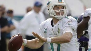 Miami Dolphins quarterback Ryan Tannehill (17) looks to