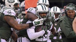 New York Jets cornerback Marcus Williams (22) celebrates