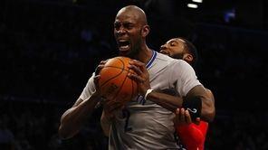 Kevin Garnett #2 of the Brooklyn Nets reacts