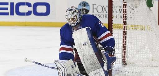 New York Rangers goalie Cam Talbot makes a