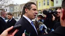 New York State Governor Andrew Cuomo speaks to