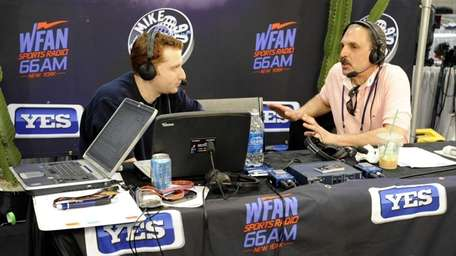 WFAN midday show hosts Evan Roberts, left, and